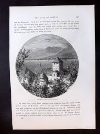Picturesque Europe C1875 Print. Castle of Chillon, Lake Geneva, Switzerland